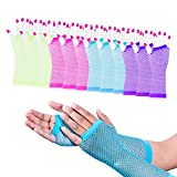 Super Z Outlet Diva Fingerless Fishnet Neon Bright Colorful Gloves 80s Dress-Up Party (12 Pack)