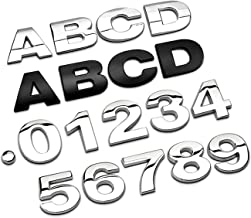 1pc metalen alfabet zilveren badge chrome zilveren letters nummers auto stickers stickers decoratie (Color Name : Silver, ...