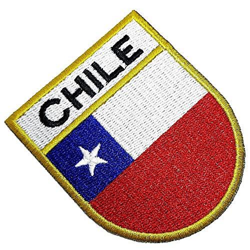 BP0045ET 01 BR44 Parche bordado bandera del país de Chile bordado borde oro uniforme kart kimono, plancha o coser