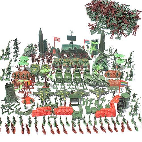 Juego de figuras de soldados de 519 piezas, kit de soldados militares con tanque, avión, campo de batalla de bomberos, acción de simulación para niños, plástico, serie de juguetes