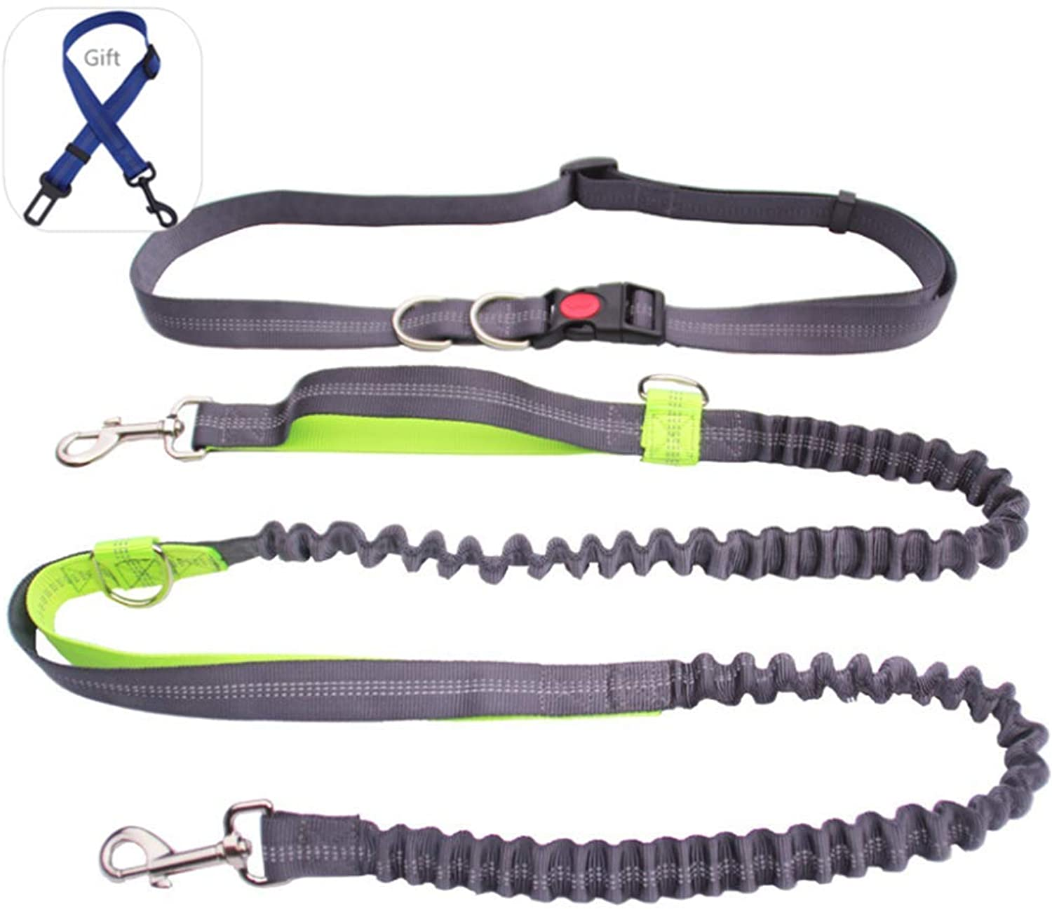 Dog Hands Free Leads Walking Leash Adjustable Waist Belt Shock Absorbing Extendible Bungee for Running Walking Training Hiking