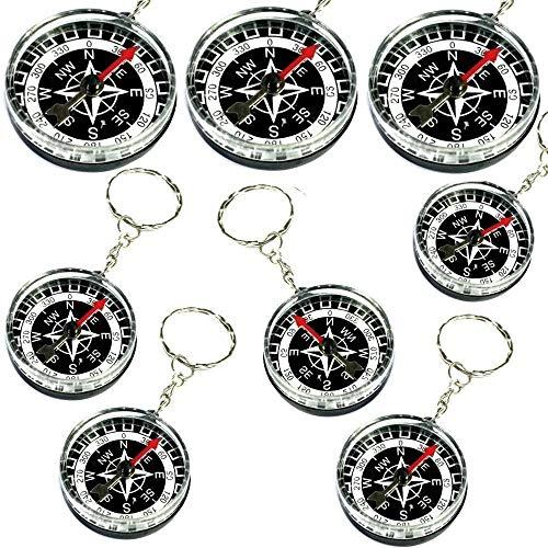 German Trendseller® - 6 x Kompass Pirat ★ NEU ★ ┃ Schatzsuche ┃ Kindergeburtstags ┃ Mitgebsel ┃ inkl. Schlüsselkette ┃ Super Qualität ✔ ┃ 6 Stück