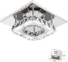 DAXGD Lámpara de techo de cristal Lámparas de techo Espejo de acero inoxidable moderna lámpara de cristal, 12W LED