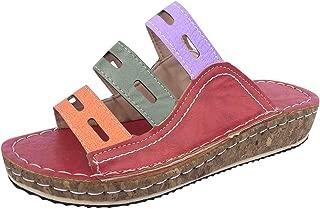 Wedge Slides Sandals,👍ONLY TOP👍 Women Strappy Leather Sandals Platform Slides Open Toe Slippers Summer Slip On Shoes