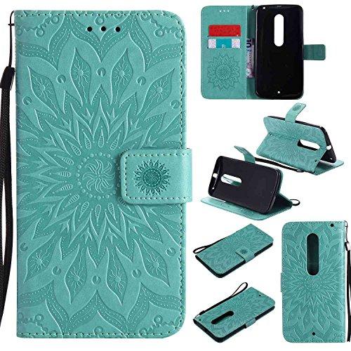 pinlu PU Leder Tasche Etui Schutzhülle für Moto X Style (5,7 Zoll) Lederhülle Schale Flip Cover Tasche mit Standfunktion Sonnenblume Muster Hülle (Grün)