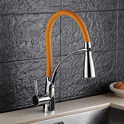HLSH Faucet Faucet All Bronce Estilo Europeo Grifo de Cocina Fregadero Girar Pull Faucet Cocina Led Grifo de Agua fría y Caliente (Color: Naranja)