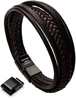 Mens Leather Bracelet with Magnetic Clasp Cowhide Multi-Layer Braided Leather Mens Bracelet