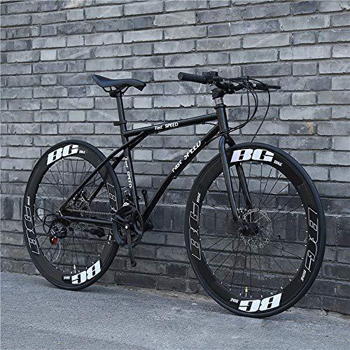 LRHD Strada Biciclette, 24 velocità 26 Bici Pollici, Doppio Disco Freno, Acciaio al Carbonio Telaio, Strada Biciclette da Corsa, Biciclette Uomo e Donna for Soli Adulti a Doppio Disco Freno (Nero)