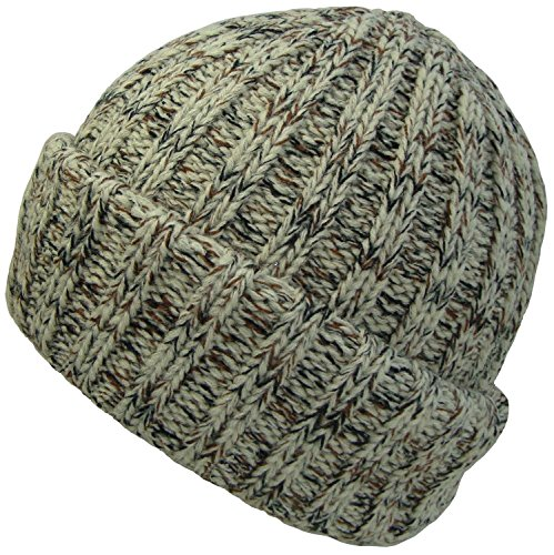 Pour homme ou femme Bonnet en tricot épais - Beige - Taille unique