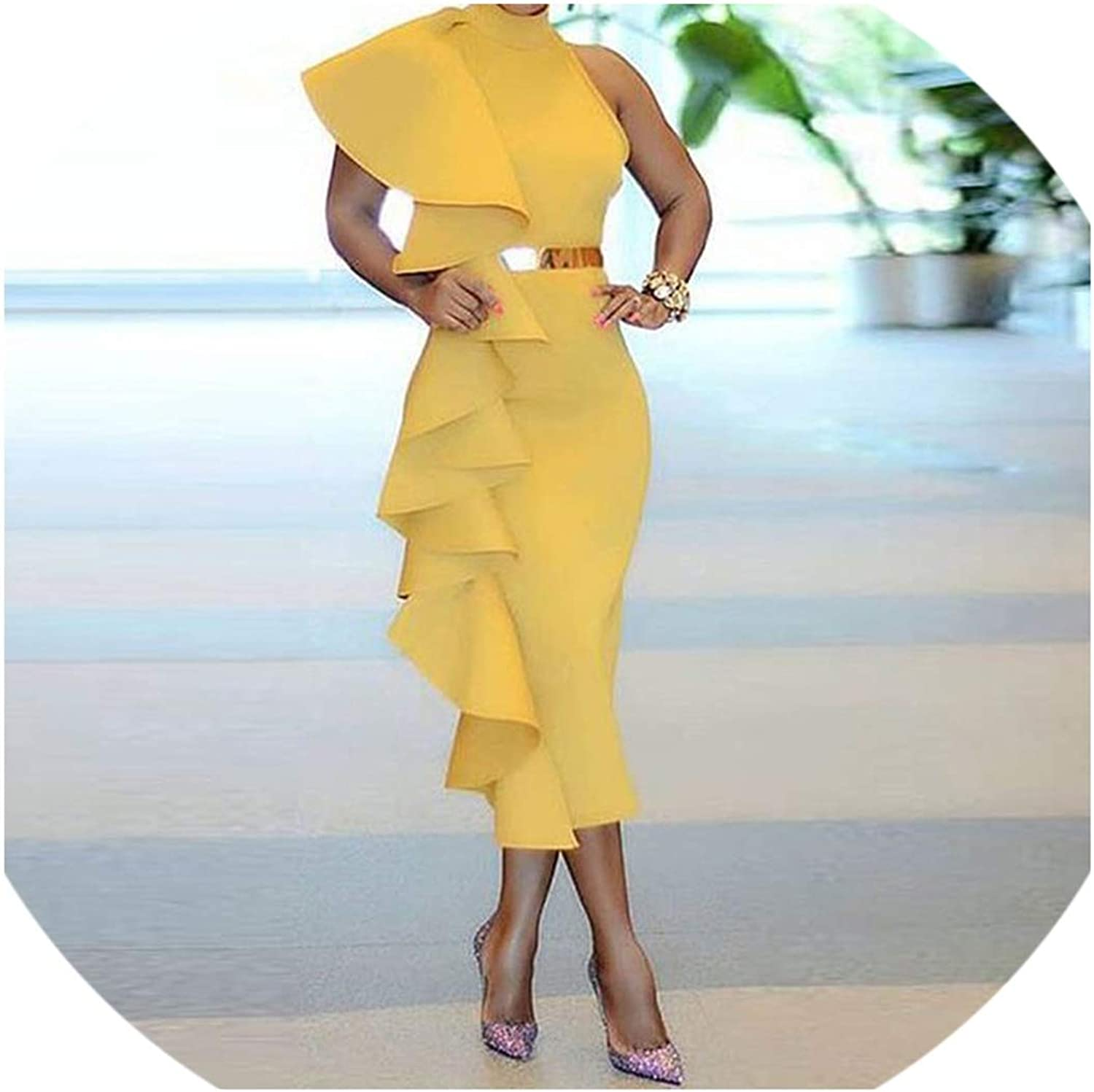 Cute Emma Women Summer Elegant Evening Patchwork Ruffles Solid Yellow Simple Sleeveless Ladies Party Dresses