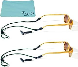 Croakies Terra System Rope Eyewear Retainer Sunglass Strap   Adjustable Sports Sunglasses Strap   XL/XXL Combo Ends   2pk Bundle + Cloth
