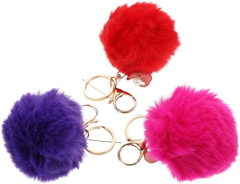 VALICLUD 3pcs Pom Pom Keychains Fluffy Pom Pom Key Rings Purse Pendant Handbag Charms for Girls Fluffy Accessories Car Bag Charm Puff Ball Keyring Assorted Color