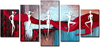 Konda African Figure Wall Art Prints on Canvas Framed 5 Pieces Modern Abstract Pictures Paintings for Living Room