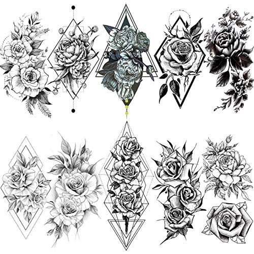 VANTATY 10 Sheets Charm Geometric Rose Peony Style Women Temporary Tattoos For Girls Fake Jewelrys Water Transfer Large 3D Flower Tattoo Sticker For Girls Adults Forearm Wrist Tatoo Paste