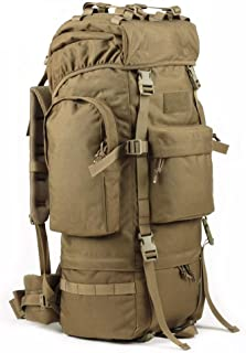 Men and Women Camping Waterproof Backpack Travel Mountaineering Bag Trekking Backpack 65L (Color : Khaki)