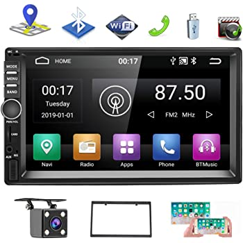 Android 9.1 Car Stereo Double Din 7 Inch Touch Screen Radio FM AM Bluetooth Receiver Supports GPS Navigation WiFi Connect Mirror Link for Android//iOS Phone