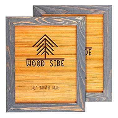 Rustic Wooden Picture Frame 8x10 - Grey Set of 2-100% Natural Eco Solid Wood and High Definition Real Glass for Wall Mounting Photo Frames