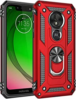 Military Grade Drop Impact for Motorola Moto G7 Play Case 360 Metal Rotating Ring Kickstand Holder Magnetic Car Mount Armor Shockproof Cover for Moto G7 Play Phone Protection Case (Red)
