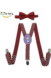 Xiacai Cup Puppy Suspender/&Bow Tie Set Adjustable Clip-on Y-Suspender kids