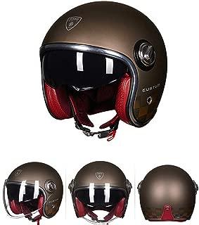 3/4 Retro Custom Chopper Harley Moto Helmet Cafe Racer Touring Biker Jet Professional Safety Protection Helmet Pilot Leather Visor DOT Certification,L