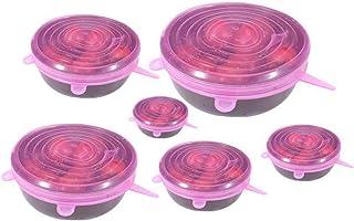DZSW Lot de 6 couvercles élastiques réutilisables en silicone pour organiser et ranger les aliments