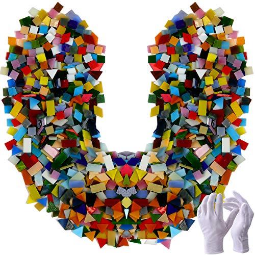 Pocoukate - Piastrelle Mosaico Set di Tessere Mosaico Vetro in Vetro Colorato per Lavori Artigianali, Tessere per Mosaico Piastrelle Assortite per Decorazioni, Cornici, Vasi, Arte, Casa e DIY