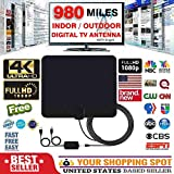 Eztronics Corp[980 Miles] Clear Indoor Digital TV HDTV Antenna [2019 Latest] UHF/VHF/1080p 4K