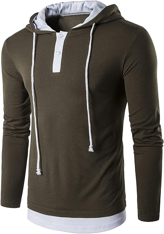 Casual Long Sleeve Tee Shirt for Men Pullover Hoodie Shirt Drawstring Athletic Hoodies Sport Sweatshirt