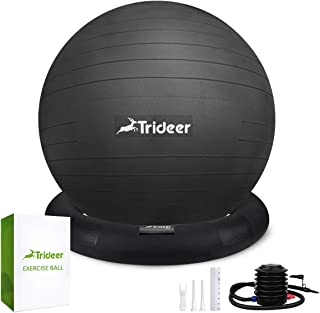 Trideer Ball Chair ¨C Exercise Stability Yoga Ball with Base for Home and Office Desk, Ball Seat, Flexible Seating with Ring & Pump, Improves Balance, Back Pain, Core Strength & Posture