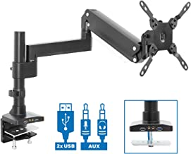 Mount-It! Premium Single Monitor Arm Desk Mount | Gas Spring Arm Fits up to 35 Inches and 33 Pounds | 2 x USB 3.0 and Audio Port | C-Clamp and Grommet Bases | VESA 75 100 200 | Aluminum | Black