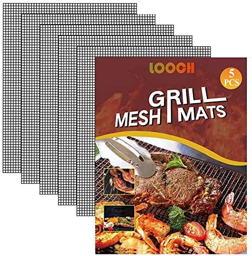 LOOCH BBQ Mesh Grill Mat Set of 5 Heavy Duty Nonstick Mesh Grilling Mats Barbecue Accessories product image