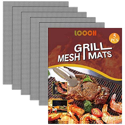 LOOCH BBQ Mesh Grill Mat Set of 5 - Heavy Duty Nonstick Mesh Grilling Mats & Barbecue Accessories - Reusable and Easy to Clean - Works on Gas, Charcoal, Electric Grill and More - 15.75 x 13 Inch