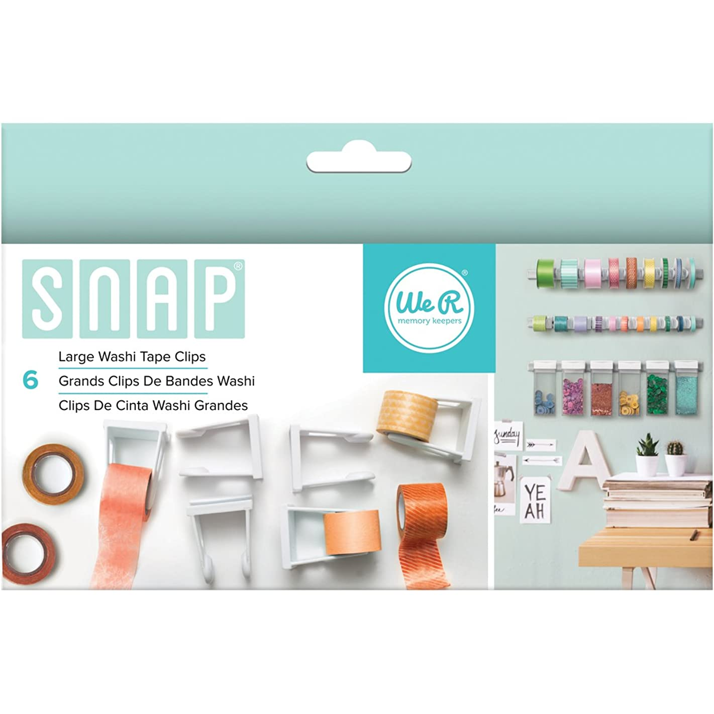 American Crafts 662590 6 Piece We R Memory Keepers Snap Storage Washi Tape Clips, Large