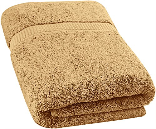 Utopia Towels - Luxurious Jumbo Bath Sheet (35 x 70 Inches, Beige) - 600 GSM 100% Ring Spun Cotton Highly Absorbent and Quick Dry Extra Large Bath Towel - Super Soft Hotel Quality Towel