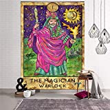 N / A Mandala Tapestry Wall Hanging Sun Moon Tarot Wall Tapestry Psychedelic Witchcraft Wall Cloth Tapestries A6 95x73cm