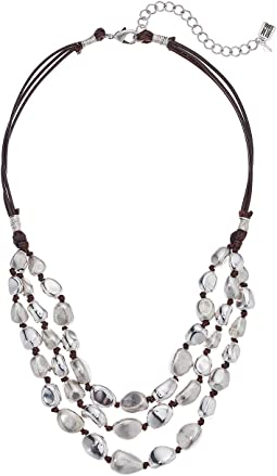 Silver Beaded Multi-Row Necklace