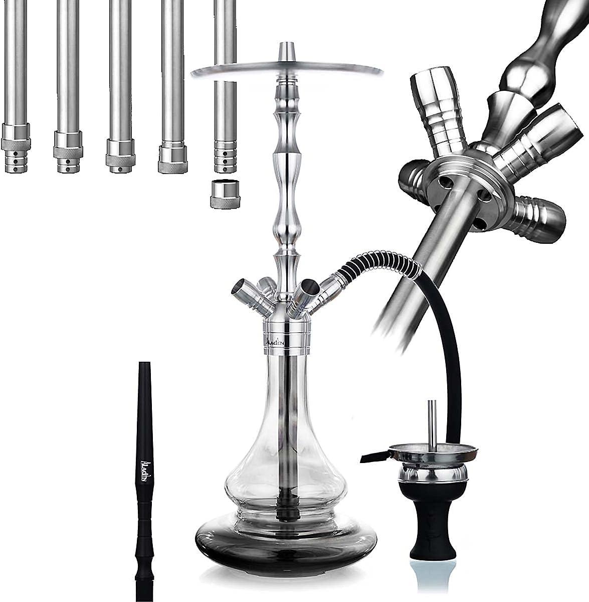 Aladin Shisha MVP 500 Black Fade, pipa de agua con 4 conectores, columna de humo de acero inoxidable, difusor y manguera para chimenea