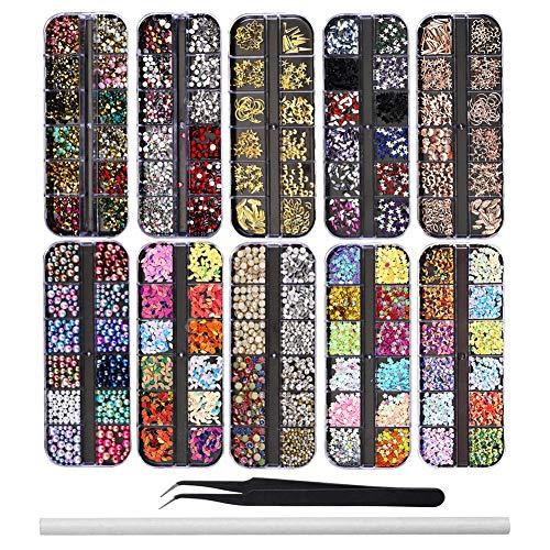 EBANKU 10 Boxen Nail Art Strass Kit Multi Design Zubehör mit 1 Pinzetten 1 Stück Wachsstifte Deko Diamanten Kristalle Perlen Edelsteine Bunt Pferdeaugen Strass Metall Nieten für Nagel DIY Dekoration