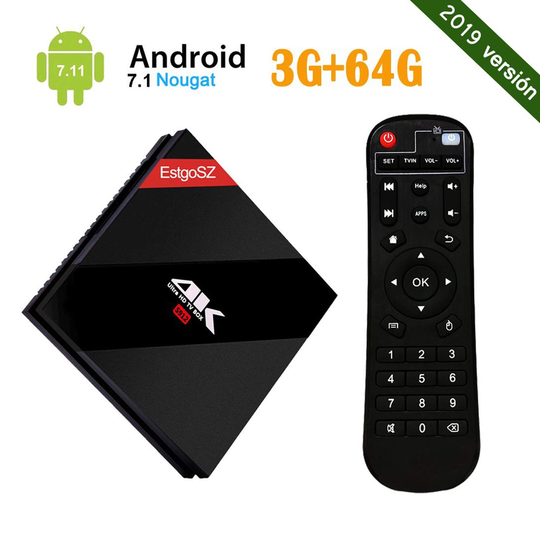 Android 7.1 EstgoSZ 4K TV BOX con Amlogic S912 Octa Core RAM 3GB ROM 64GB Smart TV Box con Control Remoto con Dual WiFi 2.4 GHz/5.0 GHz 1000M LAN Bluetooth 4.1 H.265: