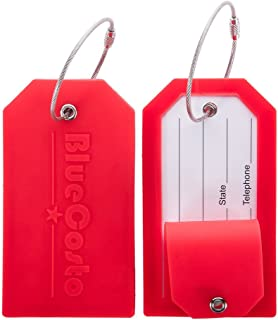 BlueCosto 2x Luggage Tags Travel Labels w/ Privacy Cover Steel Loops - Red