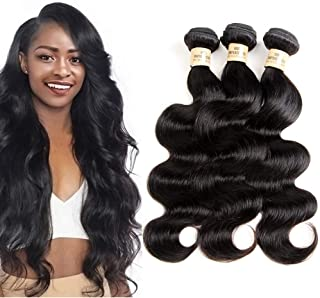 VIOLET Brazilian Human Hair 3 Bundles/Package (10 12 14inch,300g/10.5OZ) Body Wave Hair Bundles Virgin Human Hair 8A Grade Natural Black Color Cheap Brazilian Wavy Weave Hair Extensions