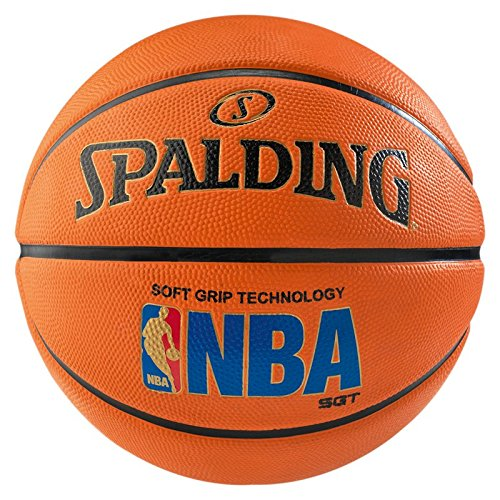 Spalding Unisex-Adult Ball NBA Logoman Sponge Basketball, orange, 7