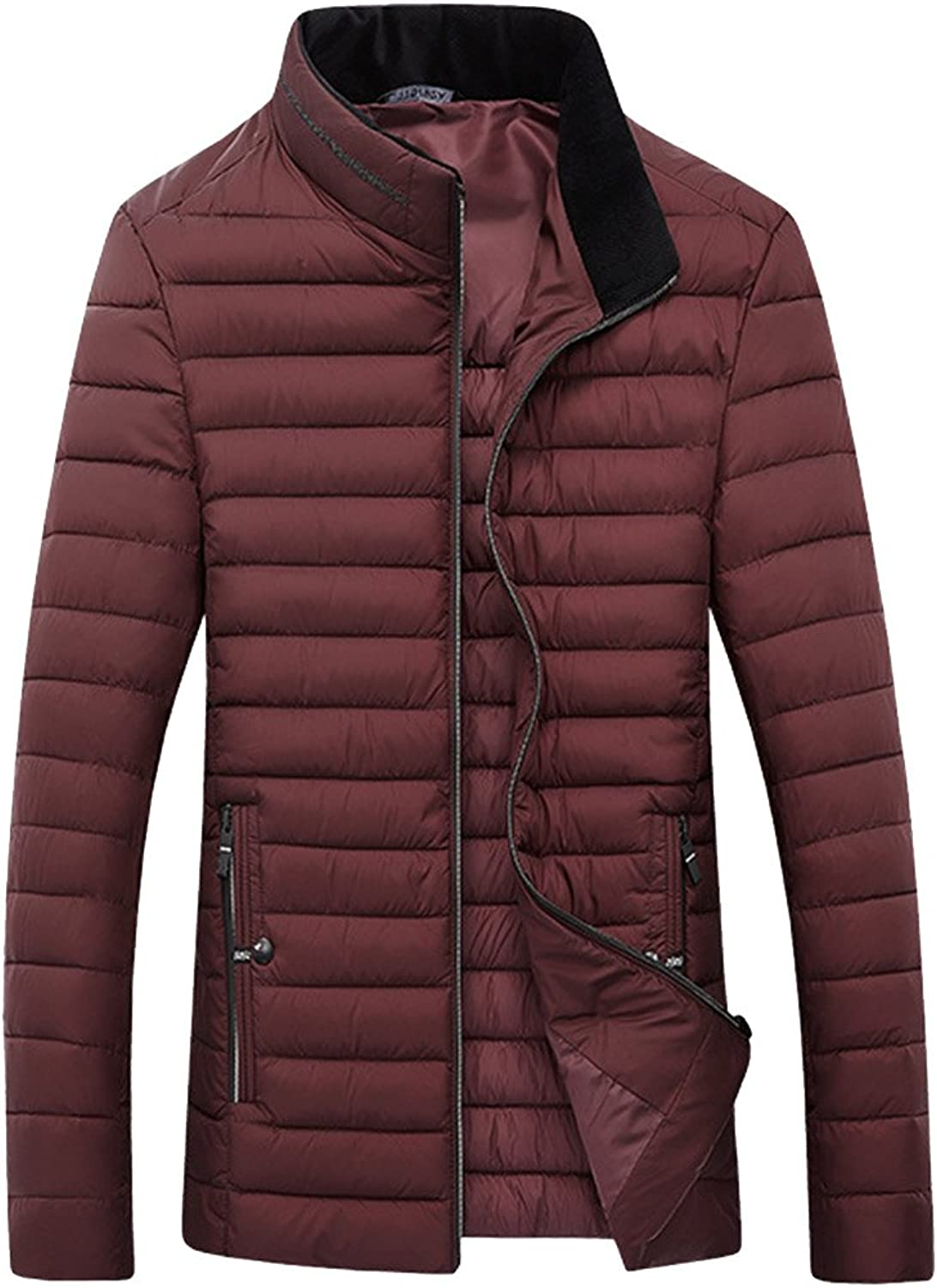 Sun Lorence Men's Lightweight Stand Collar Packable Quilted Puffer Down Jacket Coat