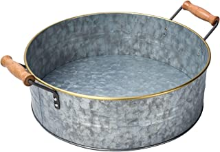 """OUTSHINE Rustic Farmhouse Galvanized Metal Tray Tub with Gold Rim and Wood Handles- Kitchen Bathroom Living Room Décor, Centerpiece, Storage – 12.2"""" Diameter"""