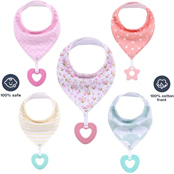 Bandana Bibs for Boys Girls,5-Pack 100% Natural Cotton Super Absorbent Drool Bibs with Teething Toys (Color 2)