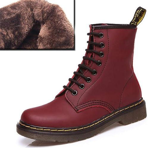 ZHRUI Stiefel de Tobillo para damen schuhe de Cordones de Cuero para damen (Farbe   Wine rot Winter, tamaño   6=39 EU)
