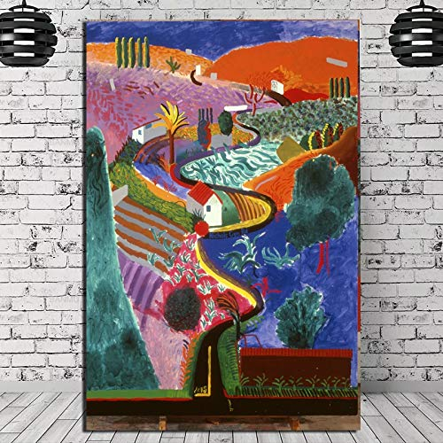 SDFSD David Hockney Mulholland Drive Leinwand Malerei Poster Drucke Marmor Wandkunst Malerei Dekoratives Bild Moderne Wohnkultur 40x60cm
