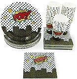 Blue Panda Desechable juego de vajilla - Sirve 36 - Suministros Superhéroe del partido para los cumpleaños para niños, cómico fiestas temáticas, Incluye platos de papel, servilletas, vasos