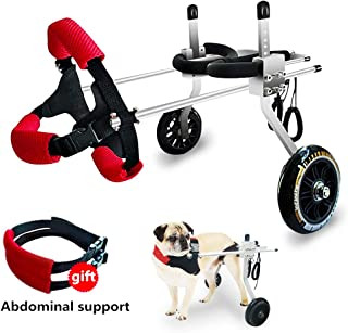 Adjustable Wheels Dog Wheelchair Cart Disabled Dog Assisted Walk Car for Hind Leg Rehabilitation for Dogs Weight 6 to 45 lbs, Lightweight Dog Cart for Back Legs (M:Height 11''-17.7'',Hip 7.9''-11.8'')