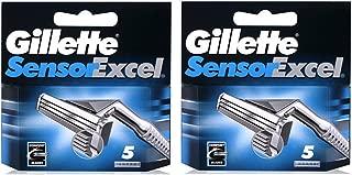 10 Blades Gillette Sensor Excel Razor Blades Cartridges Refill (5 Blades x 2 Pack)